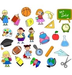Cute School Icon Set vector image