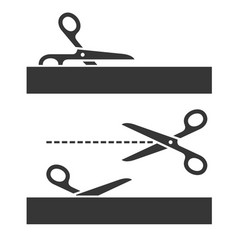 cutting scissors set with cut lines on white vector image vector image