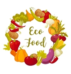 Eco food typographic poster with round decorative vector image vector image