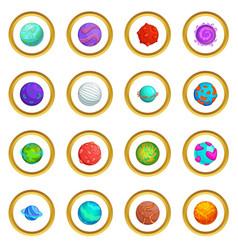 Fantastic planets icons circle vector