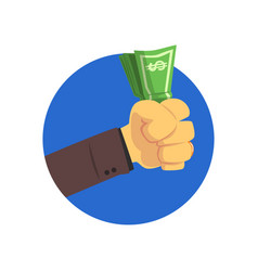 hand holding money bills cartoon vector image