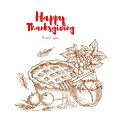 Happy Thanksgiving Thank You greeting card vector image