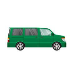 Isolated green minivan in simple cartoon style vector