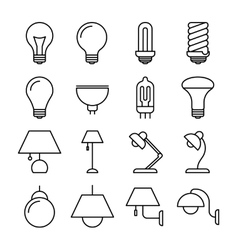 Lamp line icons vector image