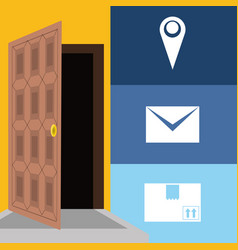 Message and box package service in the door vector