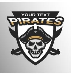 Pirate Skull and sabers badge emblem vector image vector image