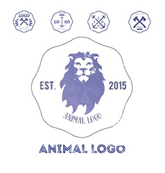 Polygonal hipster logo with head of lion in violet vector