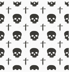 skull and cross sumbol seamless pattern hand vector image