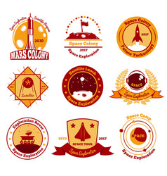 space colourful emblems collection vector image vector image