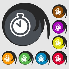 The stopwatch icon sign Symbol on eight colored vector image
