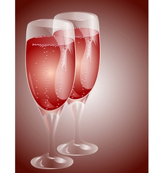 two glasses of champagne vector image