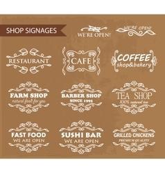 Vintage shop signages vector image vector image