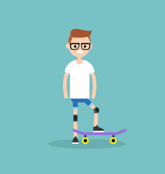 Young beginner skater wearing kneecaps flat vector