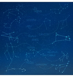 Zodiac constellation in skyline with many other vector