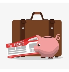 Suitcase piggy and tickets to travel design vector
