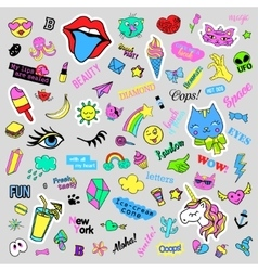 Fashion quirky cartoon doodle patch badges with vector