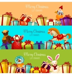 Christmas gift and toy banner set for xmas design vector