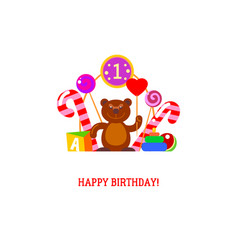 Brown bear and candies for first birth vector