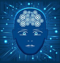 Head gears in form of braincircuit board vector