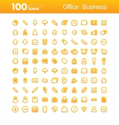 100 icons office vector image