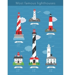 Real lighthouses infographics vector