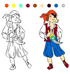 Coloring book kids play pirate vector
