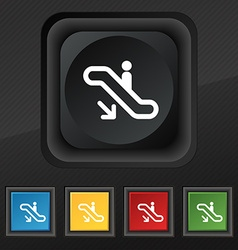 Elevator escalator staircase icon symbol set of vector