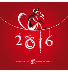 Chinese new year greeting card with monkey vector