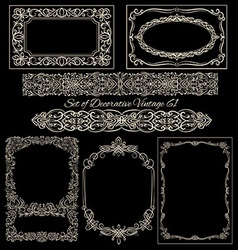 Vintage frames set on blackboard vector