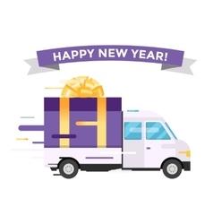 Delivery transport truck van Christmas gift vector image