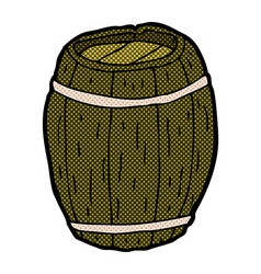 Comic cartoon wooden barrel vector