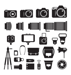 Camera photography mono icons set vector