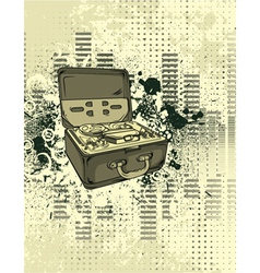 Old tape recorder with grunge background vector