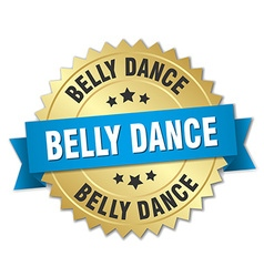 Belly dance 3d gold badge with blue ribbon vector