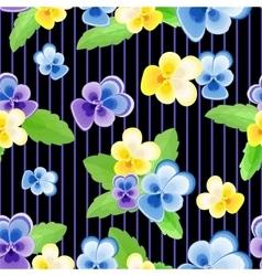 Pansies on strips black background vector