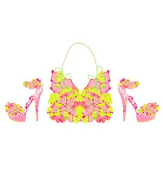 Beautiful floral female shoes and bags vector