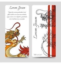 Brochure flyers template with chinese dragon vector image