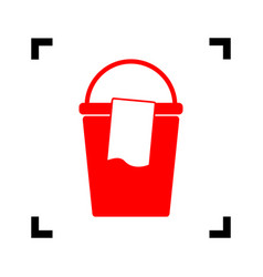 Bucket and a rag sign red icon inside vector