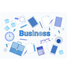 business office stuff set on squared notebook vector image vector image