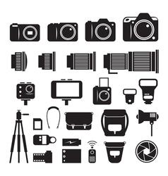 Camera photography mono icons set vector