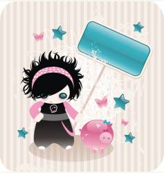 Cartoon emo girl vector