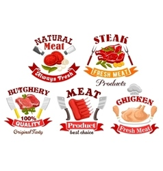 Chicken beef pork meat sign for butchery design vector image