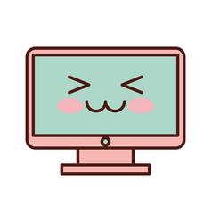 computer desktop kawaii character vector image