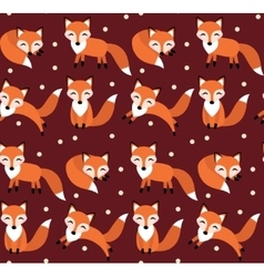 Cute fox seamless pattern foxy endless background vector