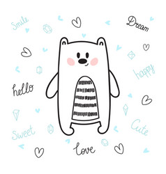 cute hand drawn postcard with funny bear card for vector image vector image