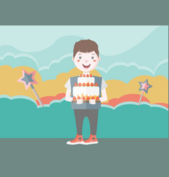 dark haired young character with cake vector image