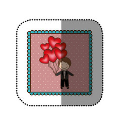 emblem bridegroom with red heart balloons in his vector image