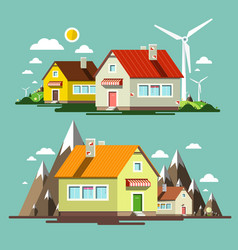 flat design nature scene with houses and wind vector image vector image