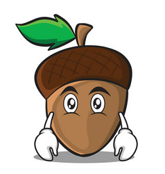 Flat face acorn cartoon character style vector