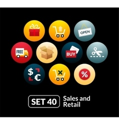 Flat icons set 40 - sales and retail collection vector